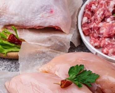 Assortment of raw meat: chicken, beef, veal and minced meat